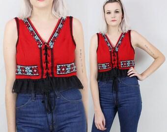 70s Red Wool Lace Up Vest, Vintage Folk Wear, Handmade DIRNDL, 1960s Costume, Lace Trim, Ethnic, German, Austrian, Bavarian