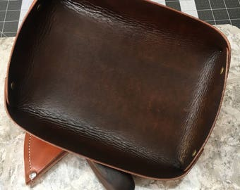 Leather Valet Tray | Trinkets | Organization | Bridesmaid gifts | Groomsmen gifts | edc | Handmade | Third Anniversary