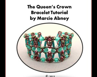 Beadweaving Tutorial - The Queen's Crown Beadwoven Bracelet Tutorial Instant Download