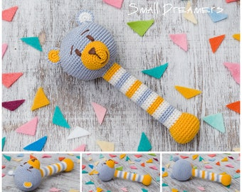 Crochet rattle Bear rattle Baby rattle toy Crochet toy Baby gift Organic teether Cotton yarn Baby Shower gift Baby teething toy Newborn gift