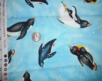 Polar Opposites Wilmington Penguins Water Cotton Quilting fabric 1 yard ONLY