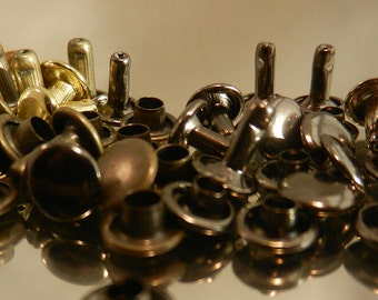 RIVETS-For Leather or Metal-Double Cap Rivets-50pk- Small-