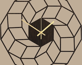 Large Wall Clock, Geometric Clock Dreamcatcher, Clocks for Wall, Home Gifts, Modern Wall Clock, Modern Home Decor, Silent Wooden Clock