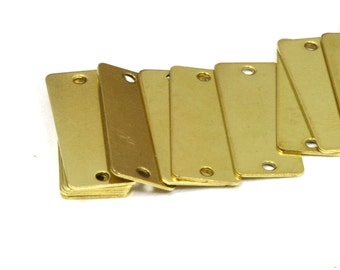 60 pcs 8x20 mm raw brass rectangle tag 2 hole connector raw brass charms ,raw brass findings 161R-36