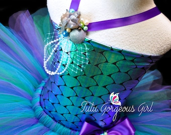 Girls Mermaid Costume...Includes Bustle Tutu, Top, and Sea Shell Decoration...Halloween Mermaid Costume Tutu...MERMAID WISHES