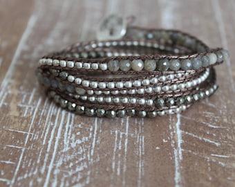 silver, bronze and labradorite wrap bracelet