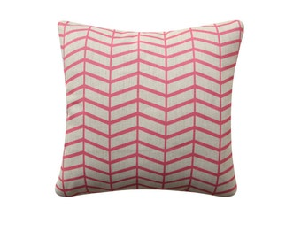 Herringbone Decorative Pillow Cover, Cushion Cover, 18x18 Pillow, Pink Cushion, Geometric Cushion, Pastel Cushion, 201