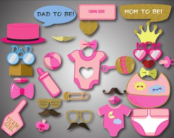 Pink Baby Shower Photo Booth Props Printable Photo Booth Props Girl Baby Photobooth Props Pink Baby Girl Printable Party Props