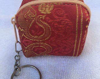 Small coin purse, coin pouch, earphone case with zip