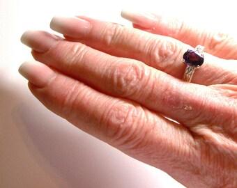 """Amethyst, amethyst ring, birthstone ring, solitaire ring, purple ring, purple, s 7 """"Purple Persuasion"""""""
