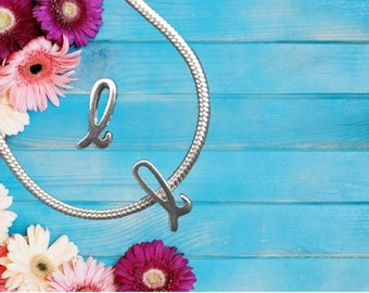 Lowercase 'l' Sterling Silver Charm Necklace With Gift Box