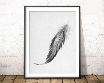 GREY FEATHER PRINT, Black Feather Wall Art Poster, Feather Art Drawing, Gray Feather Pastel Painting, Gift Idea for Men, Bedroom Art Decor