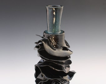 Black bottle sculpture, Night River. Porcelain ceramic black sculpture. Tall layered statement vase, functional art by Chelsea Mae