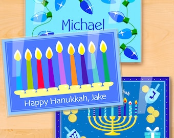 Kids Personalized Hanukkah Placemats, Laminated Mealtime Set of 3, Holiday Placemats, Great gift