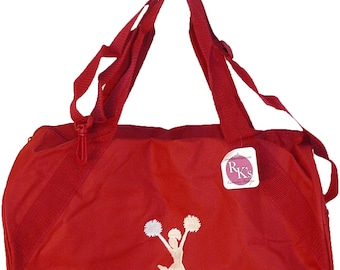 White Cheerleader Monogram Stick Figure Duffle Fun Cheer Team Duffel Bag Coach Gift You Choose Colors Red READY TO SHIP! Embroidered