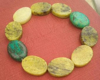 Chrysocolla and Serpentine Natural Gemstone Bracelet