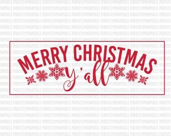 Merry Christmas Yall SVG Monogram Commercial Use Ok dxf eps SVG files Silhouette Designer Edition  Cricut Design Space Cricut Explore