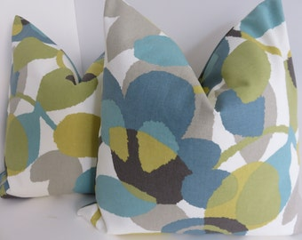 Aqua Cream Taupe Pillow Covers- Pillow covers- Green Olive  Teal Pillow covers- Pillows - Pillow covers- 18x18-20x20-22x22-16x16