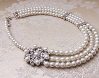 Pearl Bridal Necklace Statement Wedding Necklace Pearl Necklace Brooch Wedding Jewelry Bridal Jewelry Wedding Accessories