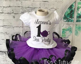 tea party tutu, tea party birthday tutu, tea party birthday shirt, pink and purple tutu, tea party shirt, tea party birthday tutu