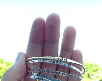 Stamped Name Bangle, MAKE YOUR OWN Customize in Sterling Silver, 14k Gold filled, Rose Gold