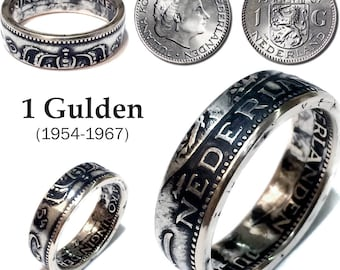 Silver Dutch Coin Ring - Netherlands 1 Gulden - Handmade Rings from Coins - Nederland - Holland - guilder