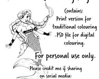 Mermaid colouring page