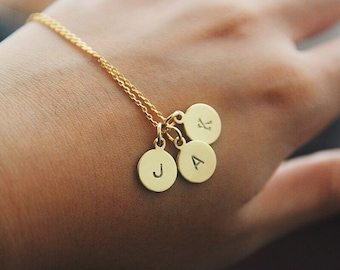 3 initials necklace etsy 3 initial disc necklace gold initial necklace personalized gift monogram family necklace mozeypictures Image collections