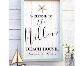 Shabby chic beach house sign, vintage home decor