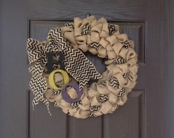 "18"" Burlap and Chevron Halloween Wreath"
