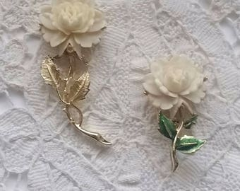 Clearance SALE - Vintage, Rose, Brooches, Lot of 2, Cream and Pale Yellow Color, Rose Pins, Gerry Brooch, Pin.