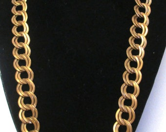 Vintage Copper Chain Necklace, Double Chain 24 Inches