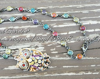 Rainbow Owl Necklace Ooak