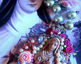 Opulent Vintage and New Catholic Assemblage St. Therese Religious Handmade Assemblage Altered Art Necklace
