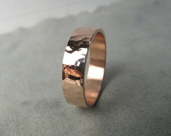 Copper Ring Hammered Copper Ring Handmade Copper Ring, Thick Copper Ring, Engraving Options
