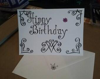 Alternative birthday card. Hand drawn. Designed by me.