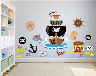 Pirate kids bedroom wall stickers - kids wall decals bedroom / playroom - pirate wall stickers- pirate wall decals - pirate theme wall art