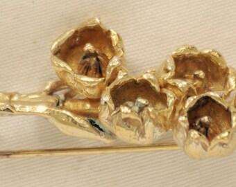 Antique Brooch, Flower Gold over marked Sterling Denmark Lora Davis