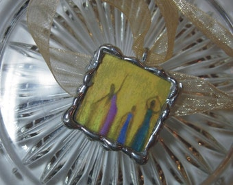 Spiritual Dancers Pendant - 2 sided Glass square Stained Glass Pendant with ribbon