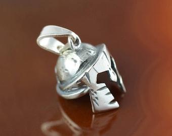 Leonidas helmet silver pendant, antique pendant, pendant for men, Greek warrior helmet pendant, 300 Spartans helmet, men's pendant