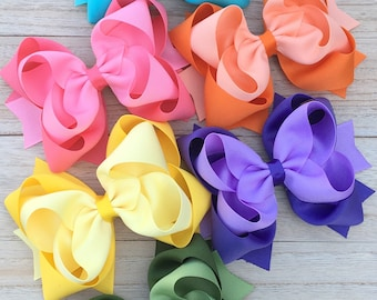 Double stacked hair bows, big hair bows, pink hair bows, lilac hair bows, summer hair bows, double stack bows, lavender bows