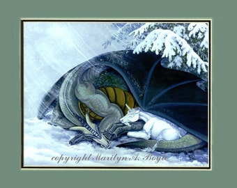 MATTED  GICLEE  FANTASY; dragon, unicorn, winter, snow, snowing, wall art, 11 x 14 inch double matted