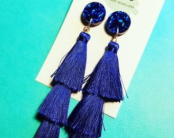 Three tier blue tassel dangle earrings