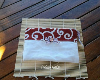 Unbleached fabric and cotton canvas pouch Burgundy Japanese