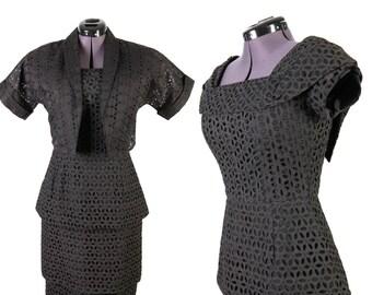 1950s Black Eyelet Dress & Jacket Set by Pedestal Originals VLV