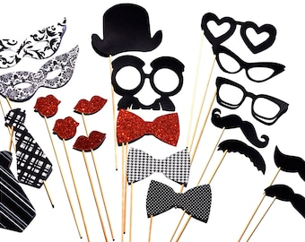 Classic Photo Booth Props - 20 piece set - Birthdays, Weddings, Parties - Photobooth Props - Black and White