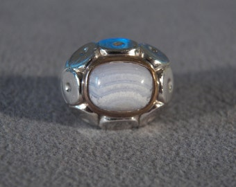 Vintage Sterling Silver Yellow Gold Overlay Striated Purple Agate  Fancy Raised Relief Cigar Band Ring, Size 6