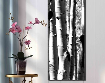 Tall entryway black and white photograph large canvas print aspen tree birch forest trunk photography modern Colorado abstract foyer art