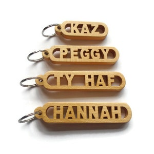 Personalized Name Keyrings, Wooden Keyrings, made from Elm finished in linseed oil coated with a protective coat of lacquer