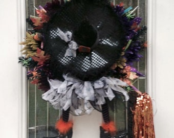 Crashing Witch Halloween Wreath